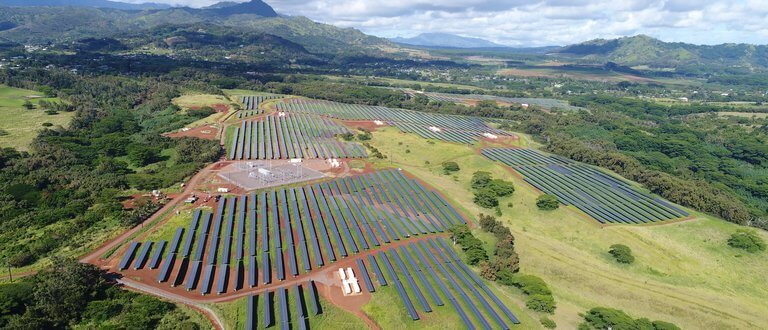 tech - aerial view of lawai project solar panels